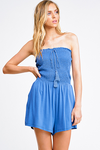 $13 - Cute cheap blue pocketed boho jumpsuit - Indigo blue smocked strapless tassel tie pocketed boho romper playsuit jumpsuit
