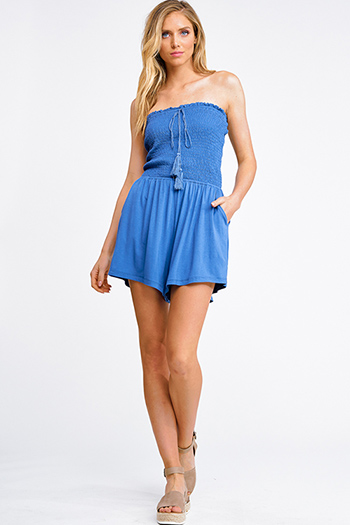 $15 - Cute cheap Indigo blue smocked strapless tassel tie pocketed boho romper playsuit jumpsuit