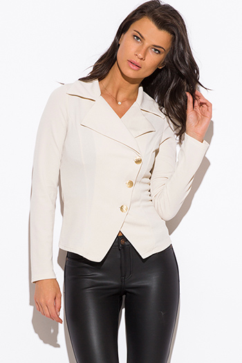 $20 - Cute cheap textured teal blue single button fitted blazer jacket top - ivory beige asymmetrical golden button fitted blazer jacket