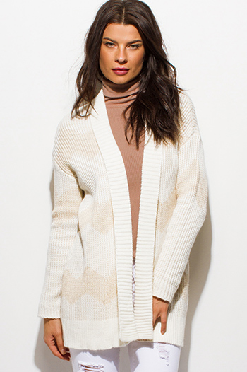 $20 - Cute cheap career wear - ivory beige chevron stripe sweater knit open front cardigan top