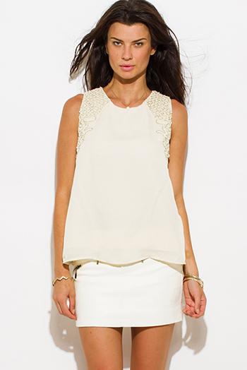 $15 - Cute cheap ruffle sexy party blouse - ivory beige chiffon embellished beaded keyhole back cocktail party blouse top
