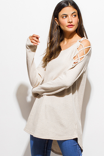 $15 - Cute cheap tunic - ivory beige cotton cut out caged cold shoulder long sleeve boho tunic top