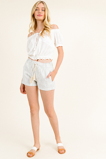 43949211b9 $15 - Cute cheap leather shorts - Ivory beige cotton pinstripe elastic waist  tassel tie pocketed