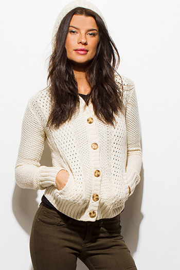 $15 - Cute cheap black peppered textured long sleeve zipper trim sweater knit top - ivory beige crochet sweater knit long sleeve hooded pocketed cardigan jacket top