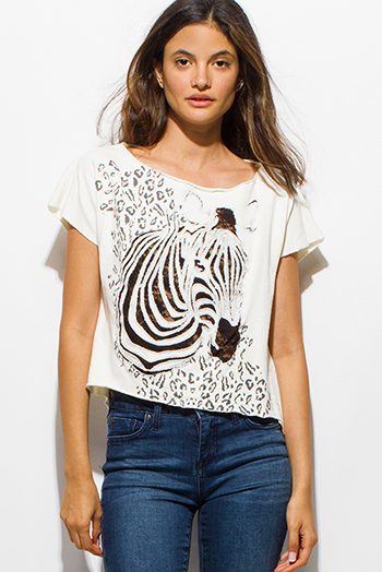 $10 - Cute cheap black sheer mesh metallic graphic screen print short sleeve beach cover up tunic top - ivory beige cutoff sleeve zebra cut out graphic print top