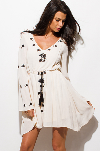 $15 - Cute cheap khaki open back dress - ivory beige embroidered long bell sleeve open back boho peasant mini dress