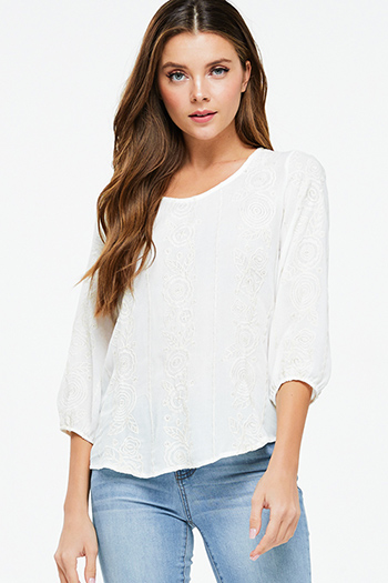 $18 - Cute cheap ivory white crochet lace panel long blouson sleeve button up boho blouse top - Ivory beige embroidered quarter sleeve keyhole back boho peasant blouse top