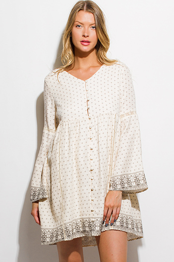 $15 - Cute cheap boho crochet open back mini dress - ivory beige ethnic border print long bell sleeve empire waist button up boho mini dress