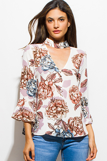 $20 - Cute cheap chiffon v neck sheer top - ivory beige floral print choker mock neck cut out long bell sleeve boho blouse top