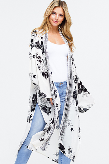 $20 - Cute cheap print boho sweater - Ivory beige floral print long sleeve open front boho resort kimono slit duster cardigan top
