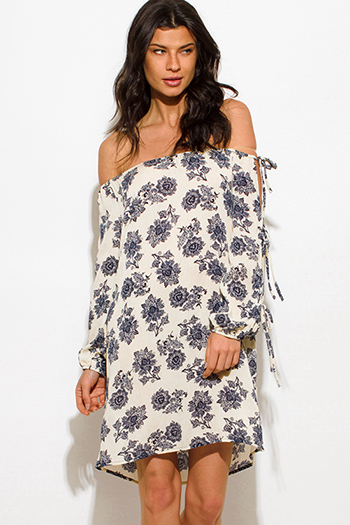 $15 - Cute cheap print crochet dress - ivory beige floral print off shoulder long slit sleeve boho mini sun dress