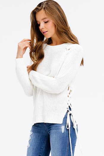 $20 - Cute cheap stripe asymmetrical boho top - ivory beige knit long sleeve cut out laceup side boho sweater top