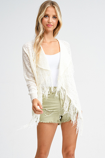 $15 - Cute cheap khaki brown ribbed sweater knit long sleeve open front boho duster cardigan - Ivory beige knit waterfall fringe trim open front boho sweater cardigan