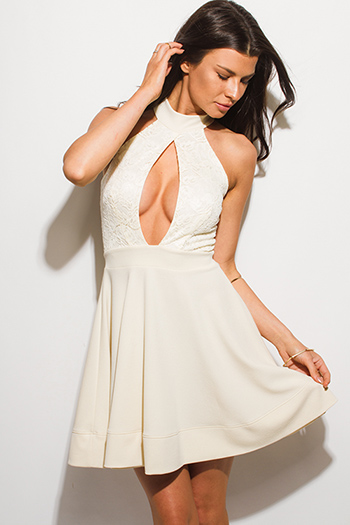 $12 - Cute cheap bright white draped dolman sleeve belted fitted sexy party mini dress - ivory beige lace sleeveless halter keyhole cut out cocktail party a line skater mini dress