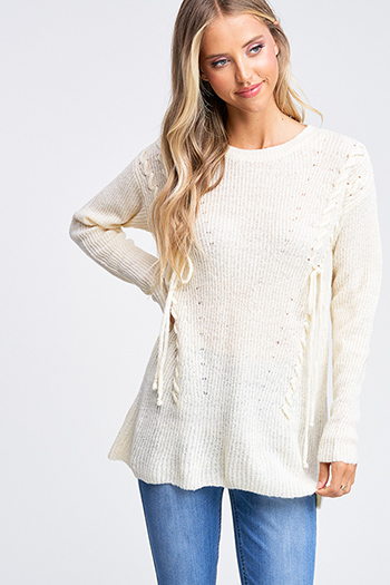 $20 - Cute cheap floral bell sleeve top - Ivory beige laceup front long sleeve boho sweater knit top