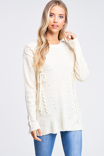 $20 - Cute cheap boho sweater - Ivory beige laceup front long sleeve boho sweater knit top
