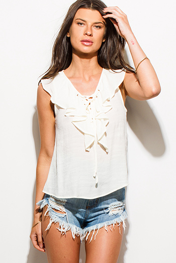 $15 - Cute cheap ruffle sheer top - ivory beige laceup ruffle neck sleeveless boho blouse tank top