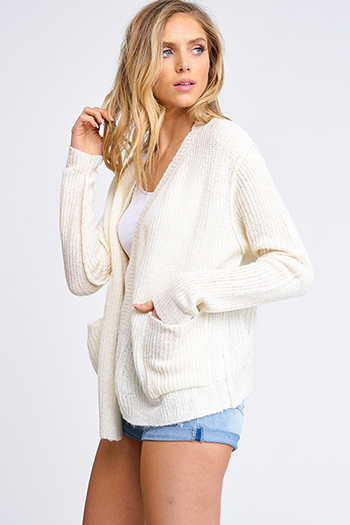 $15 - Cute cheap plum purple burgundy chenille fuzzy knit long sleeve draped neck open front pocketed boho sweater cardigan - Ivory beige long sleeve exposed stitch pocketed open front sweater cardigan