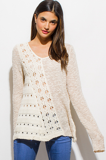 $15 - Cute cheap white v neck crop top - ivory beige long sleeve scoop neck crochet sweater knit boho top