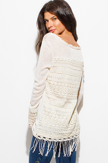 $15 - Cute cheap v neck sexy party crop top - ivory beige long sleeve scoop neck crochet sweater knit fringe hem boho top