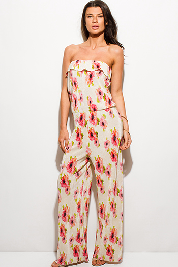 $15 - Cute cheap pink chiffon crochet jumpsuit - ivory beige pink floral print pleated strapless ruffle drop waist boho evening jumpsuit