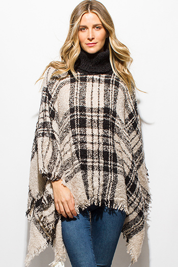 $25 - Cute cheap ivory beige plaid turtleneck fuzzy boho knit fringe trim poncho sweater jacket tunic top