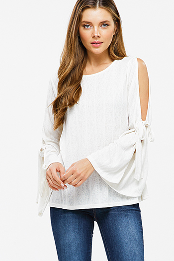 $20 - Cute cheap light blue tencel embroidered off shoulder short sleeve frayed hem boho crop top - Ivory beige ribbed knit slit tie long bell sleeve boho top