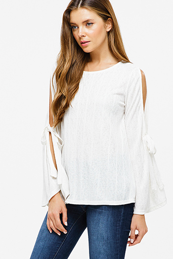 $20 - Cute cheap boho high low top - Ivory beige ribbed knit slit tie long bell sleeve boho top