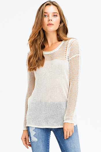 $15 - Cute cheap gray top - ivory beige linen semi sheer long sleeve round neck boho crochet knit sweater top