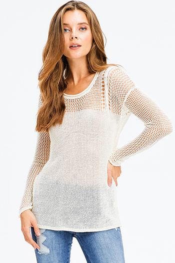$15 - Cute cheap v neck bodycon catsuit - ivory beige linen semi sheer long sleeve round neck boho crochet knit sweater top
