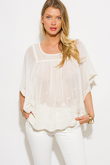 $15 - Cute cheap black semi sheer chiffon button up tunic blouse top - ivory beige sheer chiffon embroidered butterfly sleeve boho blouse top