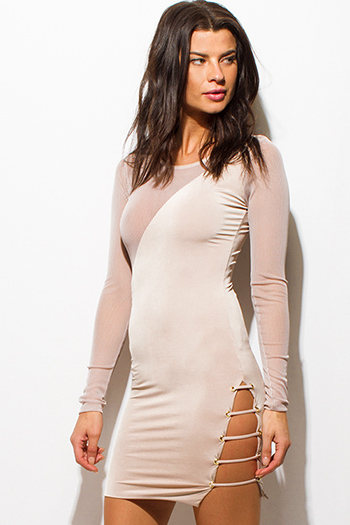 $15 - Cute cheap long sleeve fitted party dress - ivory beige sheer stripe mesh contrast cut out caged bodycon fitted sexy club mini dress