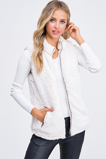 $30 - Cute cheap dark blue washed denim button up pocketed frayed hem crop jean jacket - Ivory beige sherpa fleece lined zip up pocketed vest jacket top
