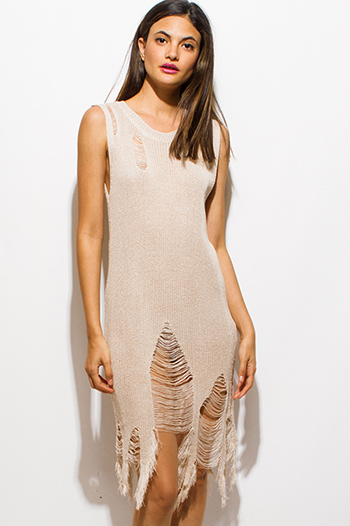 $15 - Cute cheap khaki gold metallic abstract ikat print sleeveless tunic top knit mini dress - ivory beige sleeveless destroyed shredded scallop fringe hem sweater knit midi dress