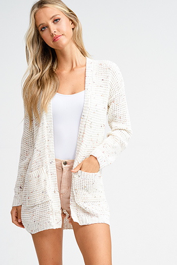 $20 - Cute cheap long sleeve sexy club top - Ivory beige speckled knit long sleeve open front pocketed boho sweater cardigan
