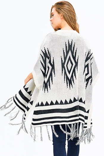 $25 - Cute cheap charcoal gray black ethnic print waterfall open front draped sweater knit boho cardigan - ivory beige sweater knit ethnic print tassel fringe trim boho shawl poncho cardigan jacket