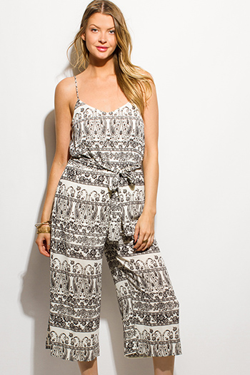 $15 - Cute cheap black caged sexy party jumpsuit - ivory black abstract paisley print sleeveless boho cropped wide leg jumpsuit