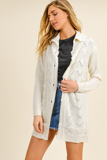 $25 - Cute cheap ivory white cotton denim long sleeve zip up biker moto jacket - Ivory cable knit long sleeve button up boho duster sweater cardigan