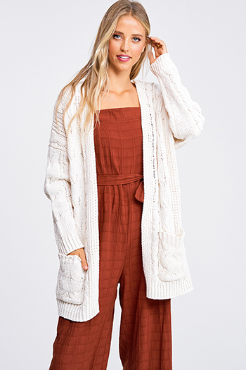 $30 - Cute cheap blue pocketed boho jumpsuit - Ivory chenille chunky cable knit open front pocketed boho sweater cardigan