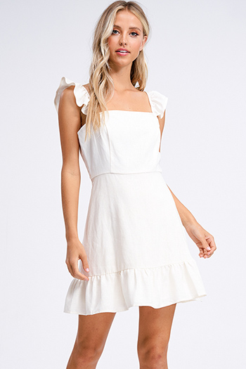 $15 - Cute cheap ruched fitted mini dress - Ivory cream beige linen ruffle strap a line boho mini sun dress