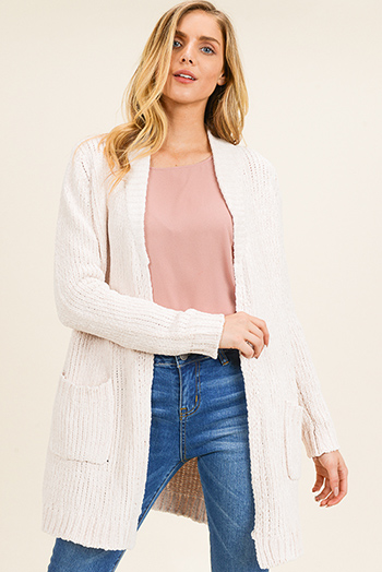 $30 - Cute cheap lime mustard green knit dolman sleeve ruched back boho shrug cardigan top - Ivory cream chenille knit long sleeve pocketed open front boho long cardigan