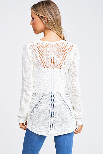 $15 - Cute cheap crochet long sleeve sweater - Ivory cream crochet knit long sleeve open front boho cardigan top
