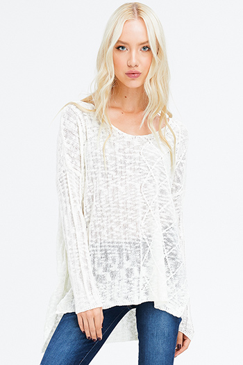 $15 - Cute cheap ivory white textured semi sheer chiffon cut out laceup long sleeve button up blouse top - ivory crochet knit long sleeve scoop neck off shoulder boho sweater knit top