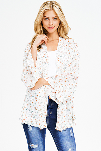 $15 - Cute cheap taupe beige laceup front faux flap pocket long sleeve boho blouse top - ivory floral print chiffon boho long kimono bell sleeve blazer cardigan top