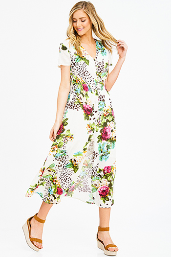 $15 - Cute cheap v neck evening dress - ivory multicolor floral print cotton short sleeve button up slit front boho maxi sun dress