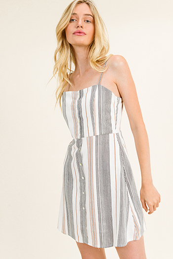 $15 - Cute cheap cold shoulder fitted dress - Ivory multicolor striped sleeveless button trim shirred back boho mini sun dress