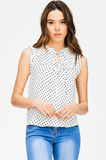 $15 - Cute cheap black white polka dot mesh inset cut out cold shoulder sexy clubbing crop top - ivory navy polka dot print ruffle keyhole tie front boho tank blouse top
