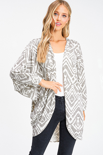 $25 - Cute cheap print boho mini dress - Ivory olive ethnic print long dolman sleeve open front boho knit cardigan