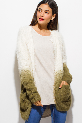 $15 - Cute cheap career wear - ivory olive green ombre fuzzy sweater knit long sleeve open front boho cardigan