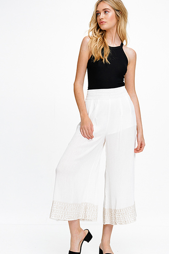 $15 - Cute cheap white denim mid rise distressed pearl studded frayed boho cutoff embellished jean shorts - Ivory white banded high waisted wide leg embroidered hem boho resort palazzo pants